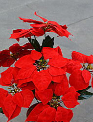 Hi-Q 1Pc Decorative Flowers Real Poinsettia Wedding Home Table Decoration Artificial Flowers