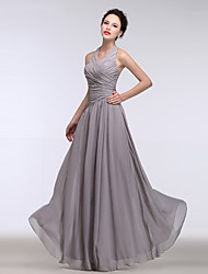 A-Line Halter Floor Length Chiffon Bridesmaid Dress with Side Draping
