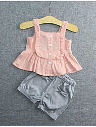 Baby Casual/Daily Solid Clothing Set-Cotton-Spring-Red / White