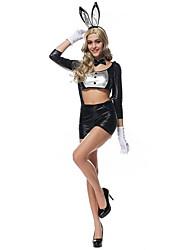 Costumes de Cosplay / Costume de Soirée Animal / Bunny girl Fête / Célébration Déguisement Halloween Noir / Rouge vin Couleur Pleine Robe