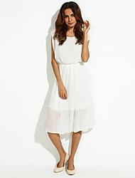 Women's Sexy/Print Micro-elastic Sleeveless Midi Dress (Chiffon)