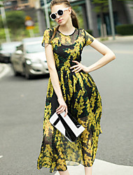Women's Going out Vintage Loose DressFloral Round Neck Knee-length Short Sleeve Yellow