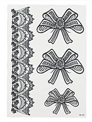 1pc Black Flower Lace Temporary Tattoo Bow Tie Bowknot Arm Leg Body Art Women Tattoo Sticker Paper HB-099