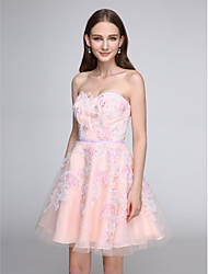 2017 TS Couture® Prom Cocktail Party Dress - Lace-up A-line Sweetheart Short / Mini Tulle with Appliques