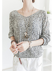 Women's Casual/Daily Simple Cute Regular Pullover,Solid Gray V Neck Long Sleeve Cotton Spring Fall Medium Micro-elastic