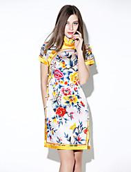 sencillo vestido bodycon floral de las mujeres i-yecho, Mini-poliester