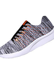 Men's Athletic Shoes Spring Flats Linen Athletic Flat Heel Lace-up Blue / Gray / Black and White Running