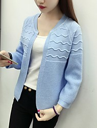 Women's Casual/Daily Cute Regular Cardigan,Solid Blue / Pink / Red / Gray Round Neck Long Sleeve Cashmere Fall Medium