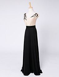 Formal Evening Dress Sheath / Column V-neck Floor-length Stretch Satin with Beading
