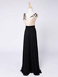 2017 formal de bainha de vestido de noite / coluna v-pescoço de cetim do assoalho-comprimento elástico com beading