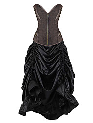 Burvogue Women's Gothic Bustier Tops Steel Boned Steampunk Corset Dress