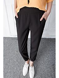 Mulheres Calças Simples Chinos Raiom Sem Elasticidade Mulheres
