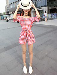 Women's Plaid Red / Black Jumpsuits,Simple Boat Neck Short Sleeve