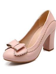 Damen-High Heels-Büro / Lässig / Kleid-Kunstleder-Blockabsatz-Absätze / Rundeschuh / Pumps-Blau / Rosa / Beige