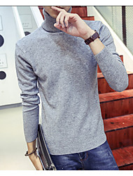 Men's Solid Casual Pullover,Wool Long Sleeve Black / White / Gray
