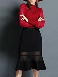 De las mujeres Vaina Vestido Noche Chic de Calle,Bloques Escote Chino Hasta la Rodilla Manga Larga Rojo / Negro / Gris Poliéster Verano