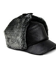 Fur Hat Ski Hat Men's Thermal / Warm Snowboard Polyester Black Skiing / Camping / Hiking / Snowsports / Downhill Winter Sports