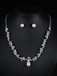Schmuck Halsketten Ohrringe Halskette / Ohrringe Braut-Schmuck-Sets Künstliche Perle Hochzeit Party Perle Strass 1 Set Damen Silber