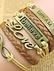 Retro Style Multilayer Brown Dream Love Anchor Weave Wrap Bracelet
