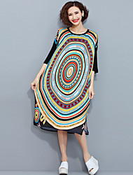 Women's Casual/Daily Simple Loose Dress,Rainbow Round Neck Maxi ½ Length Sleeve Multi-color Cotton Summer