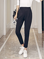 Women's Solid Black Harem Pants,Simple