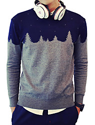 Men's Slim Retro Style Geometric Pattern Knit Pullovers,Wool / Cotton Long Sleeve Gray
