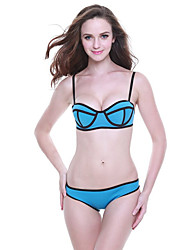 Women's Straped Bikini,Geometric Cotton White / Pink / Green / Yellow / Orange / Dark Blue / Light Blue