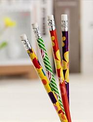 Hardcover Four Flower Design Pencil (random color)