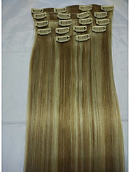 "15 ""klem in remy echte human hair extensions # 18/613 8pcs / 70g"