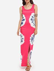 Women's Beach Sexy / Simple Sheath Dress,Geometric Round Neck Maxi Sleeveless Pink Polyester All Seasons