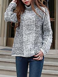 Damen Standard Pullover-Lässig/Alltäglich Street Schick Einfarbig Beige / Grau Rollkragen Langarm Acryl Herbst Mittel