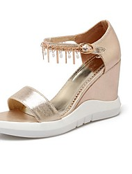 Women's Shoes Leatherette Summer Wedges / Peep Toe Sandals Dress / Casual Wedge Heel Pearl Black