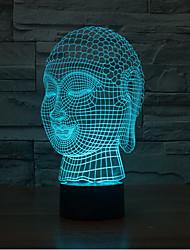 Buda touch oscurecimiento 3d llevó la luz de la noche de la lámpara de la decoración ambiente 7colorful de iluminación novedoso luz de la