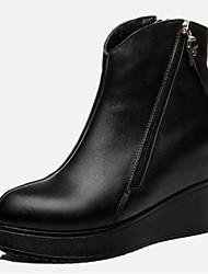 Women's Boots Leather Fall Dress Wedge Heel Black Burgundy 2in-2 3/4in