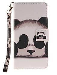 Painted Panda Pattern Card Can Lanyard PU Phone Case For Sony Z2 Z3 Z3mini M4