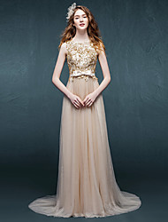 Formal Evening Dress - Sparkle & Shine Sheath / Column Scoop Sweep / Brush Train Tulle with Appliques Sash / Ribbon
