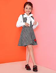 Girl's Casual/Daily Embroidered Dress,Cotton / Polyester Spring / Fall Black