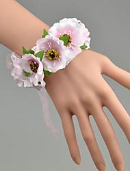 Bouquets de Noiva Atado à Mão Rosas Buquê de Pulso Casamento Amarelo / Rosa / Verde / Branco / Laranja Poliéster / Tule / Renda