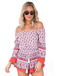 Women's Print Orange Jumpsuits,Boho Boat Neck Long Sleeve