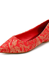 Women's Flats Fall Round Toe / Closed Toe / Flats Cotton Wedding Flat Heel Others Red Walking