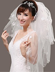 Wedding Veil Four-tier Fingertip Veils Beaded Edge Tulle