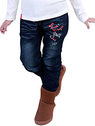 Girl's Cotton Spring/Autumn Fashion Cartoon Pattern Embroider Children Jeans