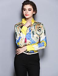 Chemise Aux femmes,Imprimé Sortie Vintage Toutes les Saisons Manches Longues Col de Chemise Jaune Polyester Moyen