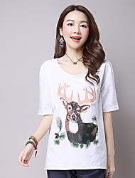 Summer Casual/Daily Women's Tops Round Neck Short Sleeve Cartoon Printed T-shirt Loose Blouse