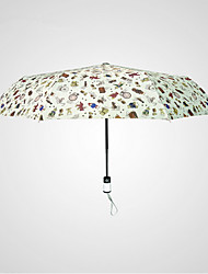 White Folding Umbrella Sunny and Rainy Textile Travel / Lady