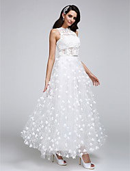 LAN TING BRIDE A-line Wedding Dress See-Through Ankle-length Jewel Lace Tulle with Flower Lace
