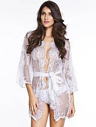 Belted Lace Kimono Nightwear