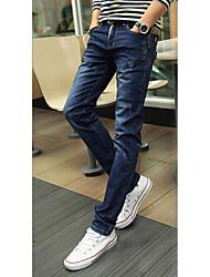 Jeans Pour des hommes Couleur plaine Décontracté Coton Bleu / Gris