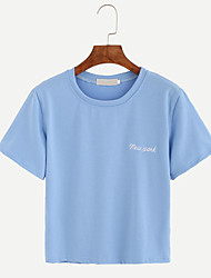 Damen Druck Einfach Lässig/Alltäglich T-shirt,Rundhalsausschnitt Sommer Kurzarm Blau Baumwolle Dünn