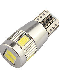10pcs HRY® T10 5630 6SMD White LED bulbs For Parking Lights License Plate Lights Interior Lights